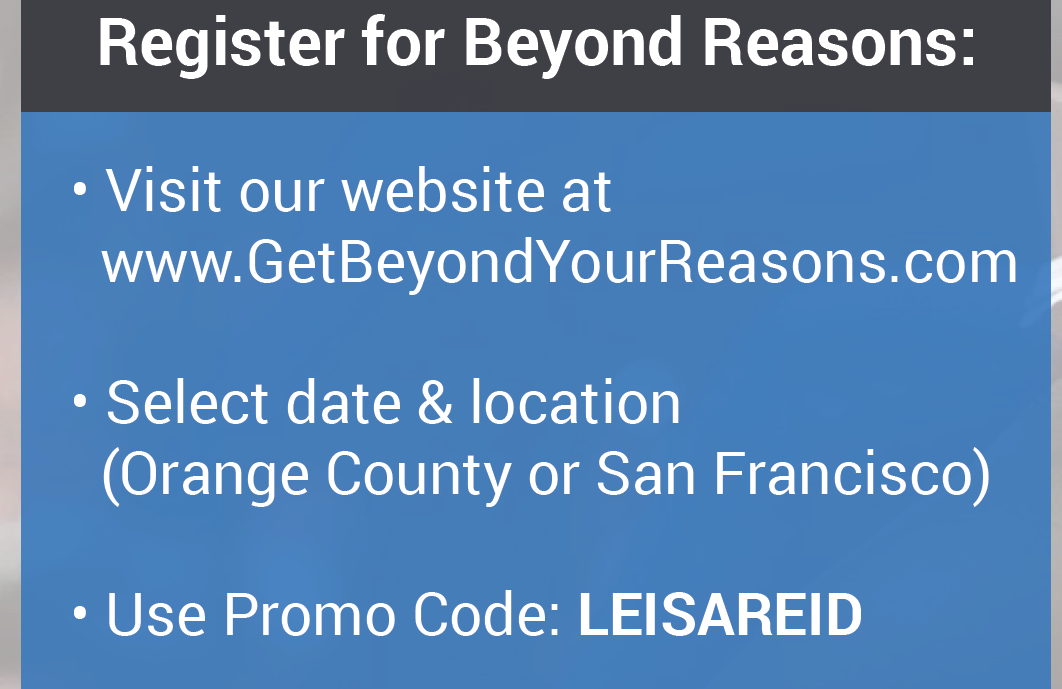 """Get Beyond Your Reasons"" Workshop Invitation"